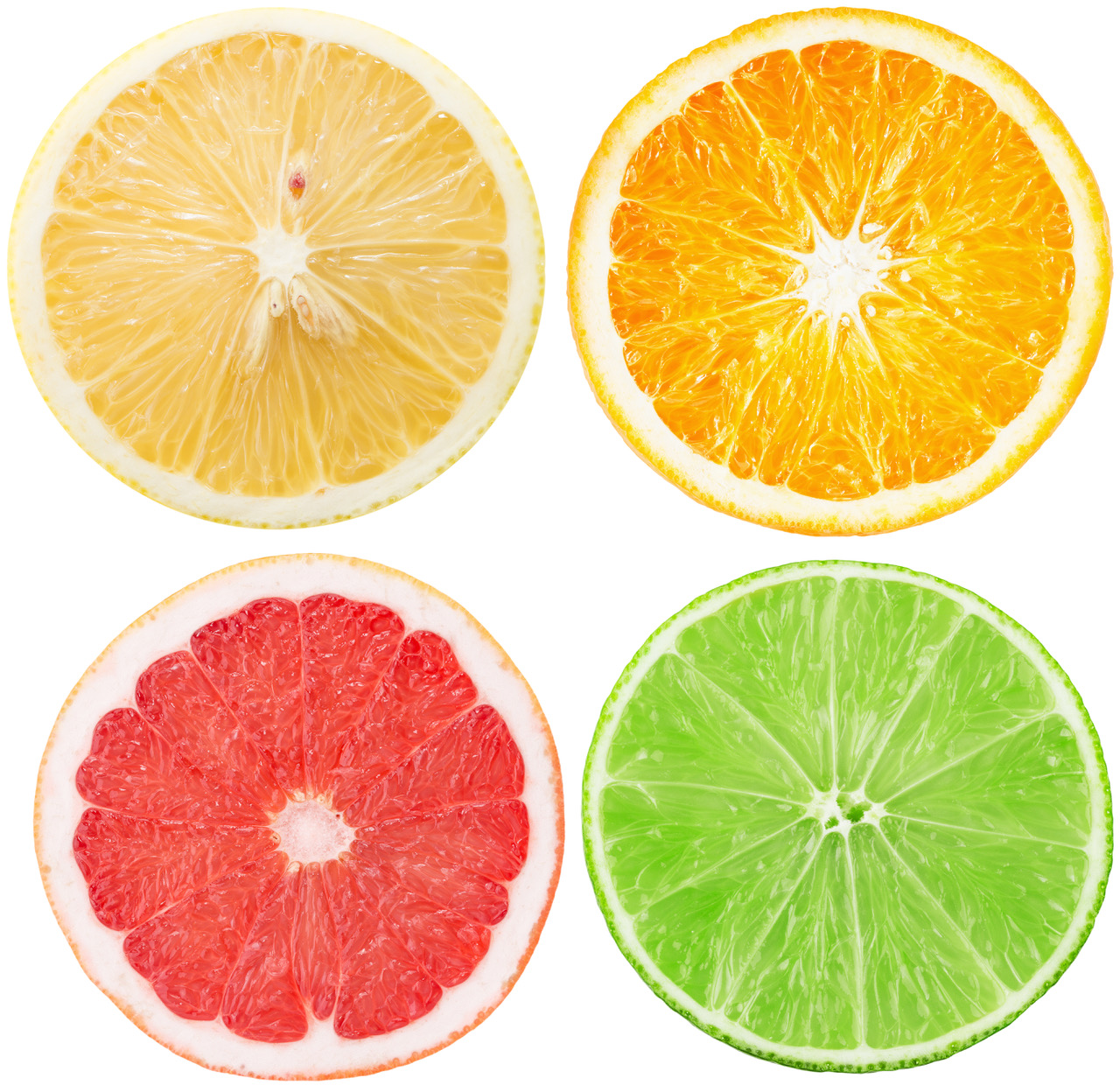 collection of citrus slices isolated on the white background